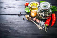 Spice and herbs still life of seasoning pepper Royalty Free Stock Images