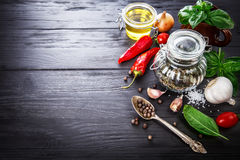 Spice and herbs still life of seasoning pepper Stock Images