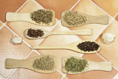 Spice herbs in wooden cooking palettes and spoons Royalty Free Stock Photo
