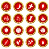 Spice icon red circle set Stock Photography