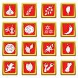 Spice icons set red Royalty Free Stock Photos