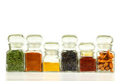Spice jars Royalty Free Stock Photos