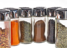Spice jars. For food on white background Royalty Free Stock Photography