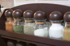 Spice jars. Close up.  concept Royalty Free Stock Photos