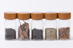 Spice jars in a row Stock Image