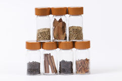 Spice jars in a row Royalty Free Stock Photos