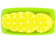 Spice a juicy lemon. Slices on a platter. Aromatic treat. The source of vitamins and trace elements. Vector illustration vector illustration