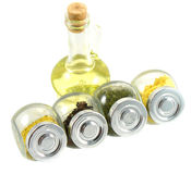 Spice kit for cooking. This is a kit of different kind of spice. Also oil in the bottle Royalty Free Stock Photography