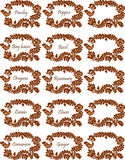 Spice labels. Spice label stickers with flower and bird decoration stock illustration