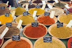 Spice market. Spice for sale at the farmer's market Royalty Free Stock Photos