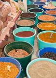 Spice Market. Sacks and buckets of spices for sale at a market in the middle east Stock Photography