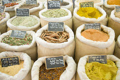 Spice market, bags of colorful spices Royalty Free Stock Images