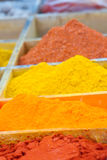 Spice market with colorful seasoning in wooden boxes. Turkish herbs. Stock Images