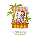 Spice market isolated on white background. Cartoon spice shop. Local business vector illustration vector illustration