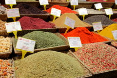 Spice market in Istanbul. Displays of products on offer in the world famous Spice market in Istanbul Turkey Stock Photography