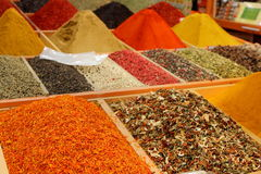 Spice market in Istanbul. Displays of products on offer in the world famous Spice market in Istanbul Turkey Royalty Free Stock Photos