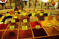 Spice market. Spices at a bazaar shopping Stock Photography