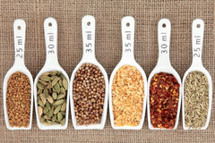 Spice Measurement. Spice selection in white porcelain scoops with metric measurement over hessian background royalty free stock images