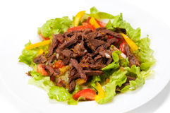 Spice Mexican salad with meat on plate Stock Photography