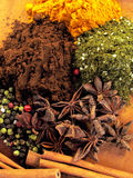 Spice mix 5. Various spice assortment on yellow background Stock Photo