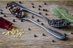 Spice mix and peppercorns in metal spoons, one broken pod of hot red pepper with seeds and dried bay leafs royalty free stock images