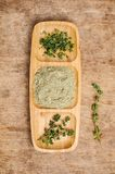 Spice mix of thyme. On rustic wooden background. Selective stock photos