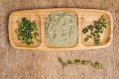 Spice mix of thyme. On rustic wooden background. Selective focus royalty free stock images