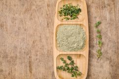 Spice mix of thyme. On rustic wooden background. Selective focus stock photos