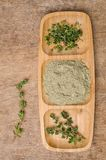 Spice mix of thyme. On rustic wooden background. Selective focus stock image