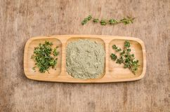 Spice mix of thyme. On rustic wooden background. Selective focus stock images