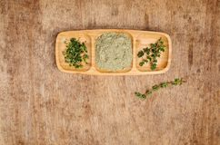 Spice mix of thyme. On rustic wooden background. Selective focus royalty free stock image