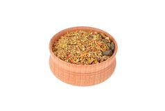 Spice mix in wooden bowl Stock Image