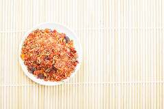 Spice mixture for rice courses on mat Royalty Free Stock Photo