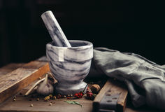 Spice and Mortar with Pestle Stock Images
