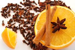 Spice and orange stock photos