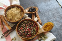 Spice paprika, red and black pepper and curcuma spice concept background Royalty Free Stock Image