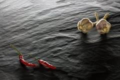 spice Pimenta de pimentão e close up do alho imagens de stock
