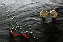 spice Pimenta de pimentão, sal e close up do alho imagem de stock royalty free