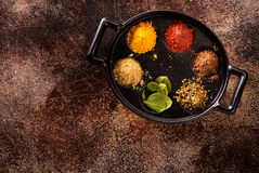 Spice powder and herbs and copy space for text Stock Photo