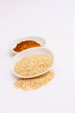 Spice powder and pepper on white background. Stock Photo