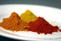 Spice powders. Three kinds of spice powders on plate, nice colors royalty free stock photography