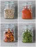 Spice rack. Some jars with spices on an old spice rack royalty free stock images