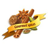 Spice ribbon badge Royalty Free Stock Photography