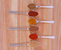 Spice Row. Six different ground spice powders in silver spoons on a wooden background Royalty Free Stock Images