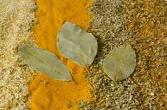 The spice saffron and Bay leaf royalty free stock photos