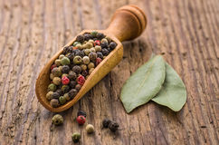 Spice scoop with  pepper Stock Images