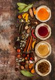 Spice and seasoning flat lay. Spice and seasoning on brown concrete texture royalty free stock photography