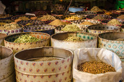 Spice seller in a market, Morocco Stock Photos