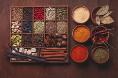 Spice set in box Royalty Free Stock Image