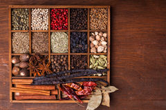 Spice set in wood box Royalty Free Stock Photo